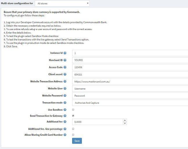 Commweb - Plugin Configuration