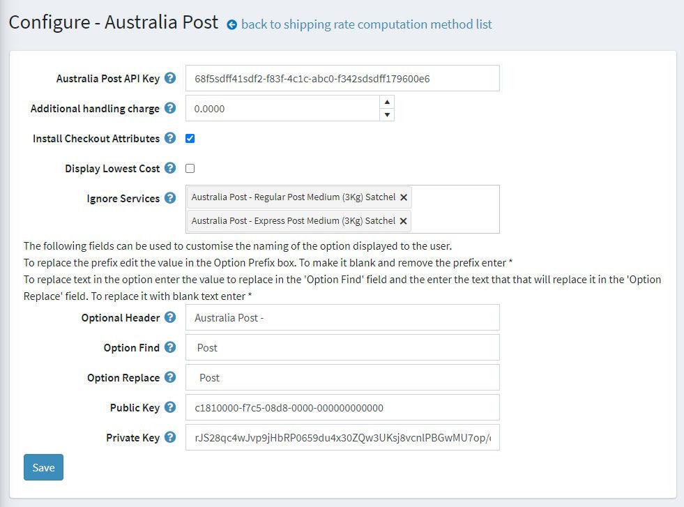 Australia Post Configuration